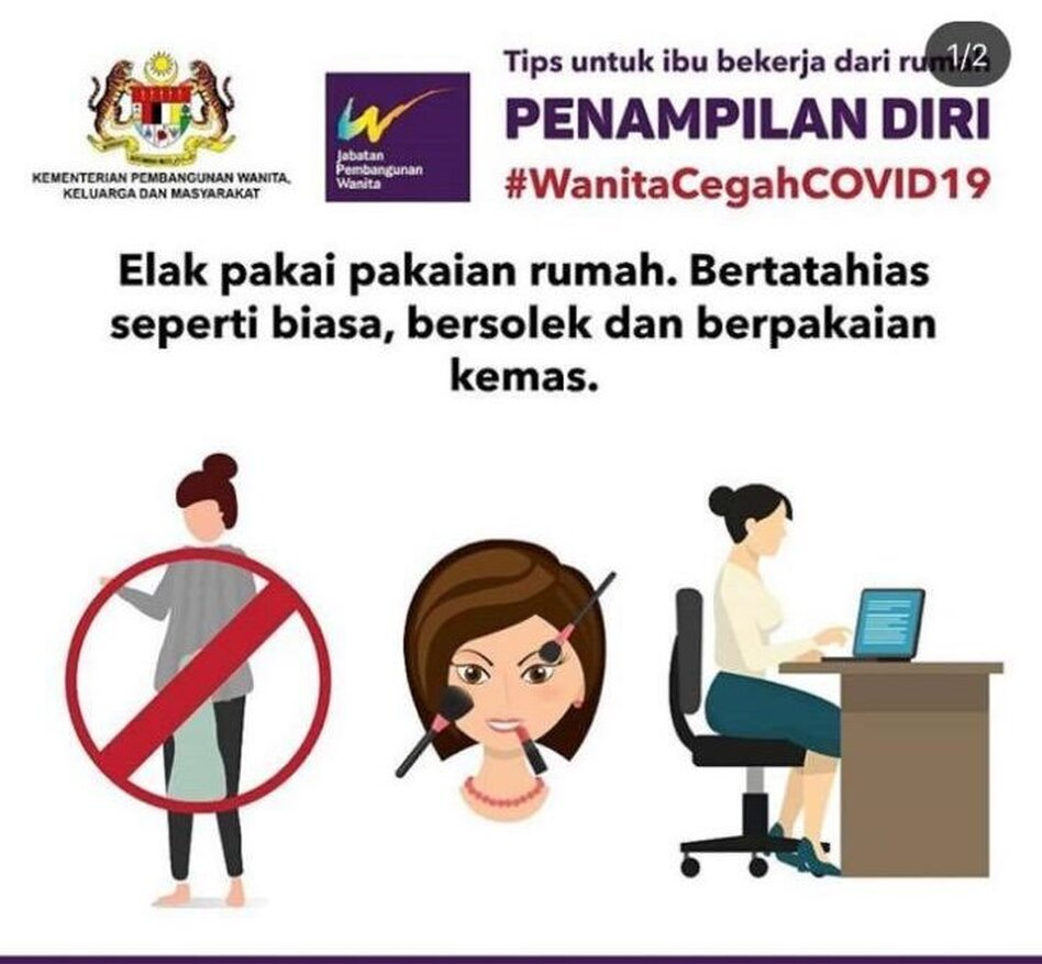 In this online poster, now removed, Malaysia's Ministry for Women, Family and Community Development advised women working at home to wear makeup and office clothes so as not to offend their husbands. (Ministry for Women, Family and Community Development/Government of Malaysia)