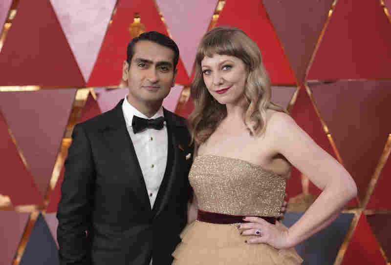 Kumail Nanjiani and Emily V. Gordon arrive at the Oscars on March 4, 2018, at the Dolby Theatre in Los Angeles.