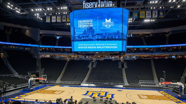 The floor of the Fiserv Forum is seen during a January media walkthrough ahead of the Democratic National Convention in Milwaukee, Wis. The convention has been pushed back a month, to mid-August.