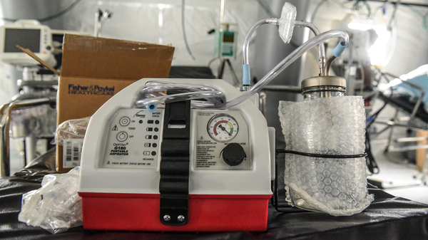 A ventilator and other hospital equipment is seen in an emergency field hospital to aid in the coronavirus pandemic in Central Park in New York City on Monday.