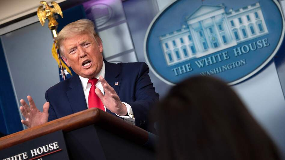President Trump speaks during the daily briefing Friday on the novel coronavirus. (Jim Watson/AFP via Getty Images)