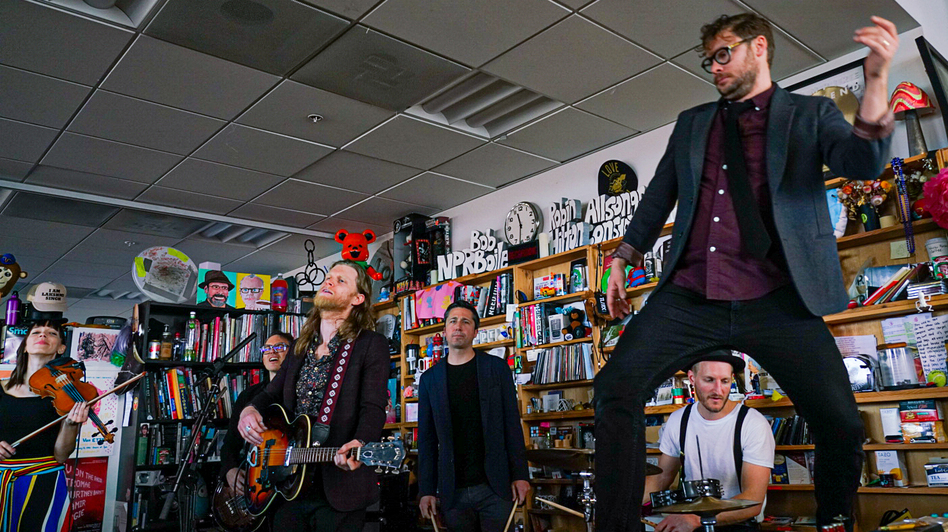 The Lumineers play a Tiny Desk Concert. (Bob Boilen/NPR)