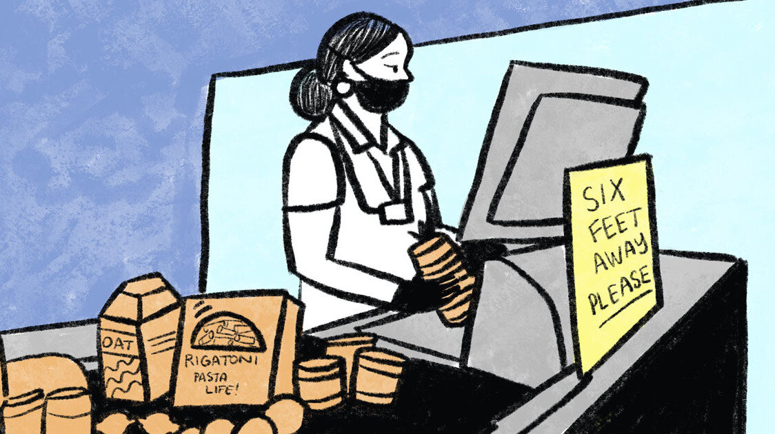 Comic journalist Sarah Mirk checked in with grocery workers from across the country to hear more about their experiences during the pandemic and what they want to change.