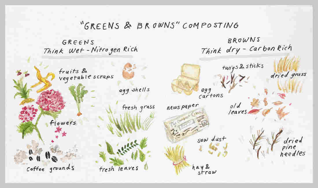 """When composting at home, you need the right mix of """"greens"""" and """"browns"""" — what counts as green material and brown material is showed in this illustration."""