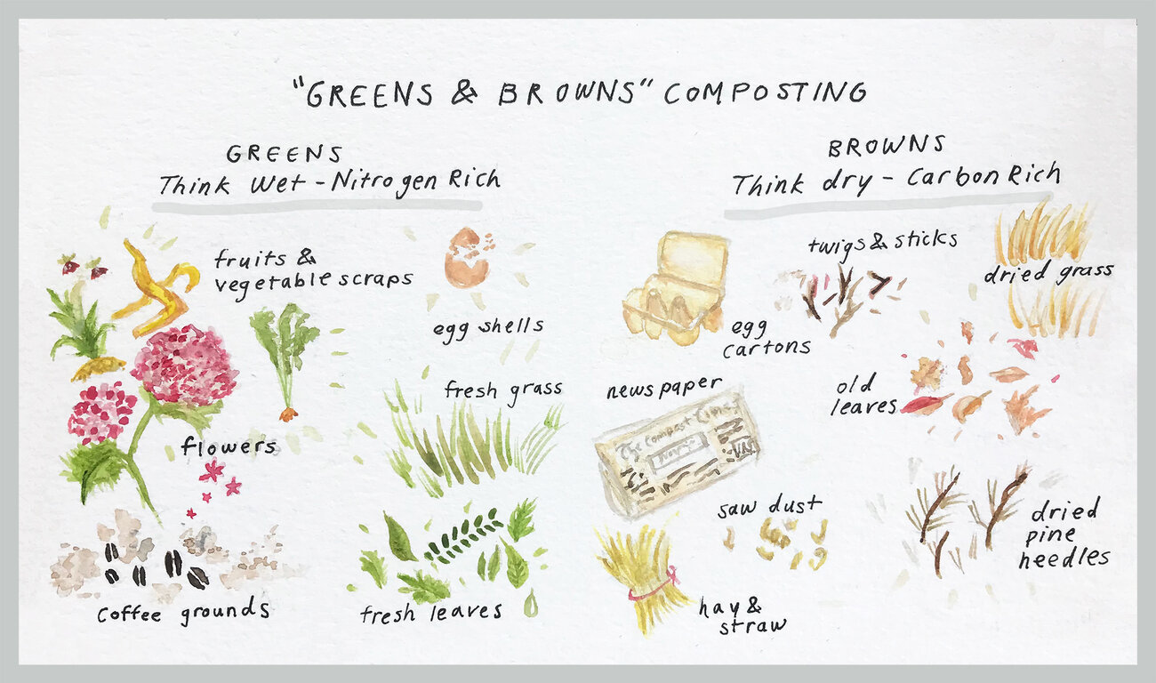 "When composting at home, you need the right mix of ""greens"" and ""browns"" — what counts as green material and brown material is showed in this illustration."
