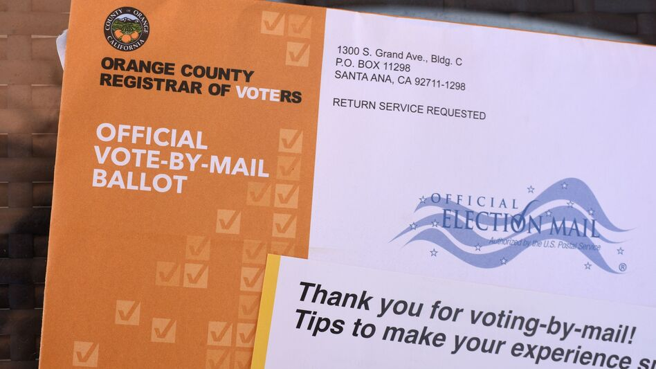 A mail-in ballot is displayed in Laguna Niguel, Calif. (Robyn Beck/AFP via Getty Images)