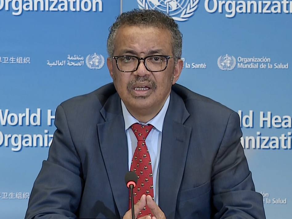 """""""No need to use COVID to score political points,"""" World Health Organization Director-General Tedros Adhanom Ghebreyesus says. """"You have many other ways to prove yourselves."""" (AFP via Getty Images)"""