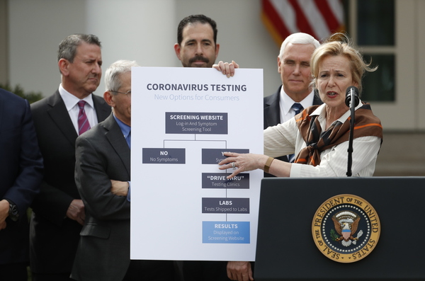 During the March 13 news conference, Dr. Deborah Birx, the White House coronavirus response coordinator, outlined a website that would screen patients, tell them where to receive testing and provide results. No such screening service came to exist.