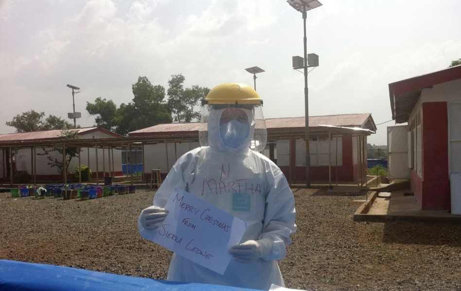 In 2014, Martha Phillips, an American nurse, traveled to West Africa during the Ebola crisis to provide medical care. Treating Ebola not only taught her how to stay safe around a deadly virus but also how to manage the stress and sadness of working during a disease outbreak. She's now drawing on that experience to help other nurses cope with the challenges of coronavirus. (Martha Phillips)