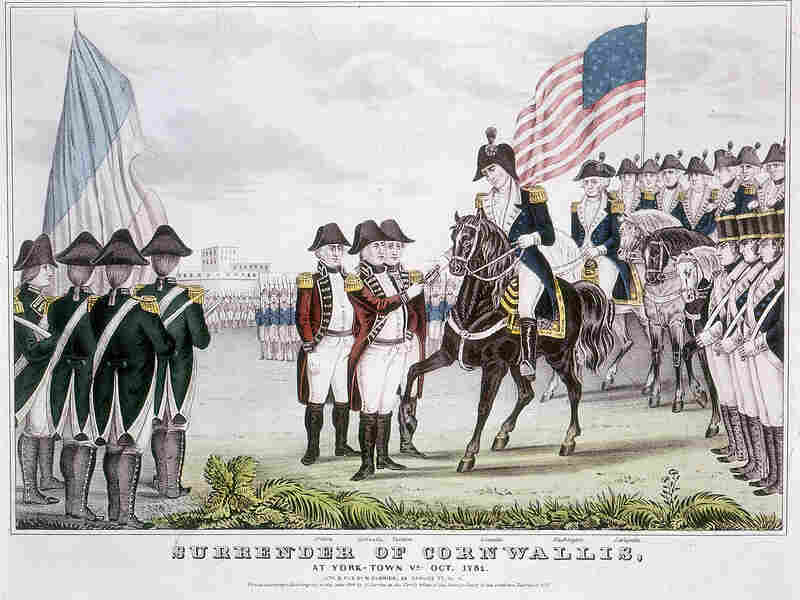 British commander General Charles Cornwallis surrendering to the colonists after the Battle of Yorktown, October 1781.