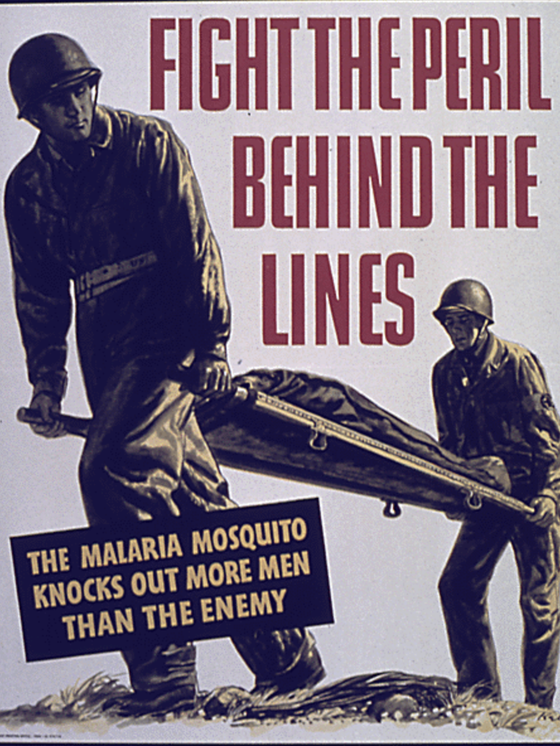 A WWII poster warning against the threat of mosquitoes.