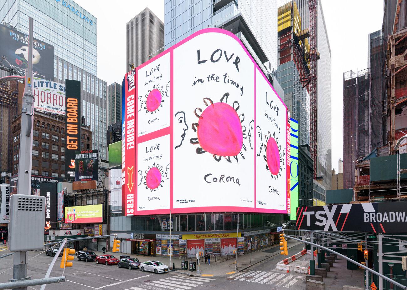 Mensagens de esperança, gratidão e segurança substituem anúncios na Times Square