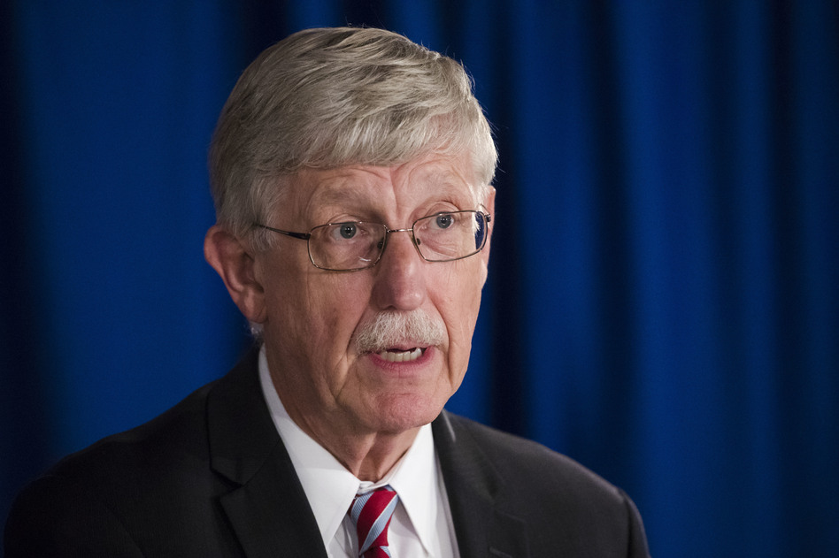 National Institutes of Health Director Dr. Francis Collins speak during a news conference in 2017. (Matt Rourke/AP)