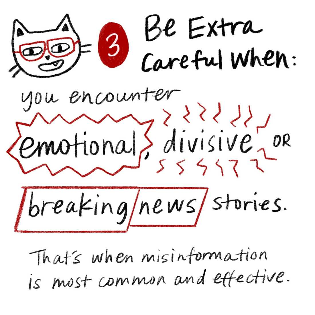 Tip 3: Be extra careful when you encounter emotional, divisive or breaking news stories. That's when misinformation is most common and effective.