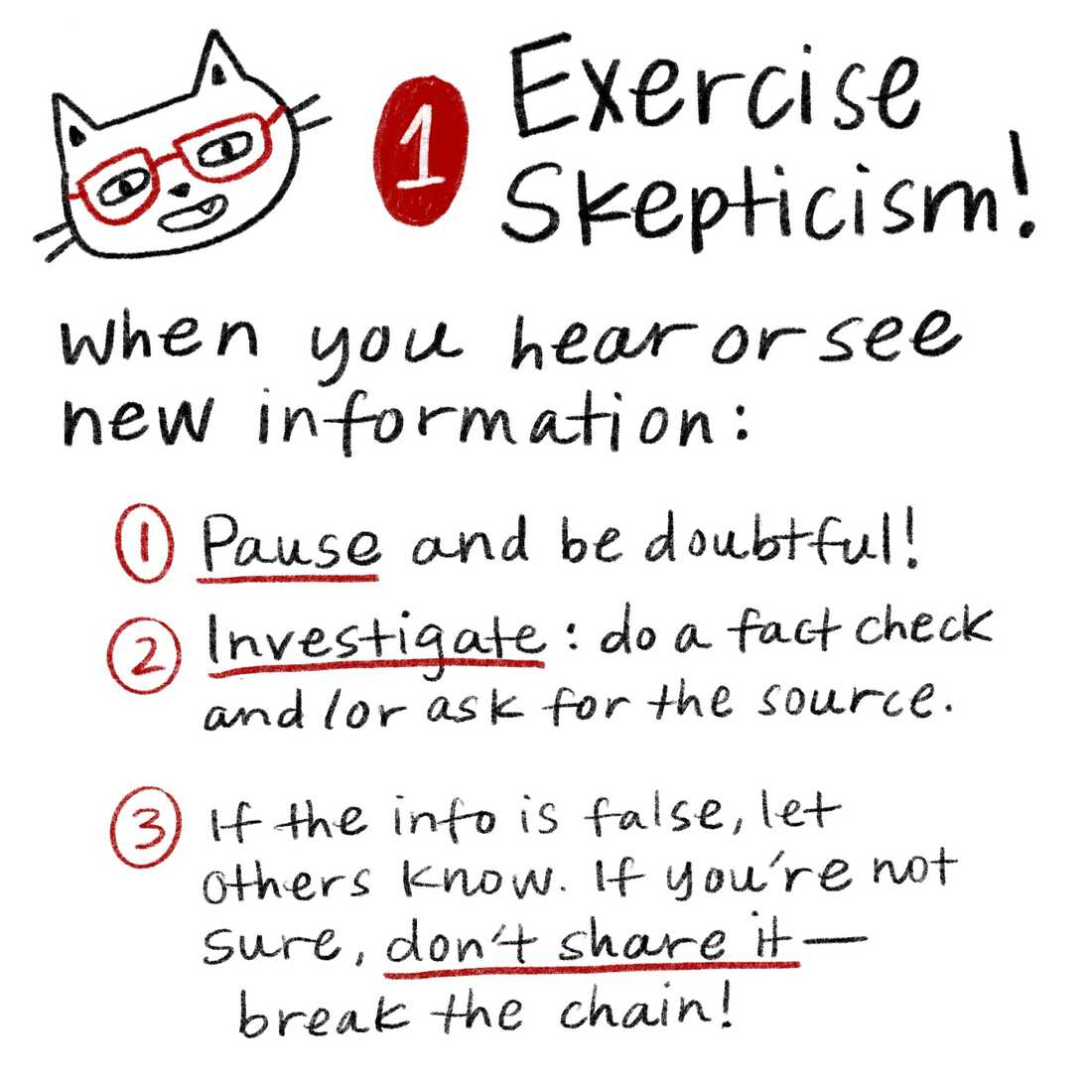 Tip 1: Exercise Skepticism. When you hear or see now information, first pause and be doubtful. Then investigate — do a fact check and/or ask for the source. Finally, if the information is false, let others know. If you're not sure, then don't share it — break the chain!