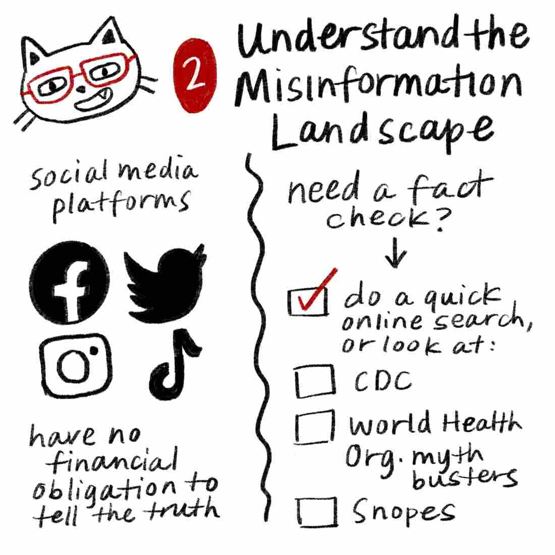 Tip 2: Understand the misinformation landscape. Social media platforms like Facebook, Twitter, Instagram and TikTok have no financial obligation to tell the truth. If you need to perform a fact check, do a quick online search, or look at the websites for the CDC or World Health Organization. Snopes and other fact-checking sites are also good resources.