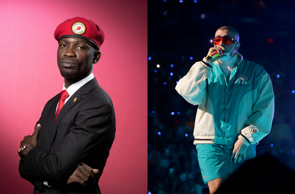 Uganda's Bobi Wine, left, and Puerto Rico's Bad Bunny have released songs about the coronavirus. (Joel Saget/AFP via Getty Images; John Parra/Getty Images for Spotify)