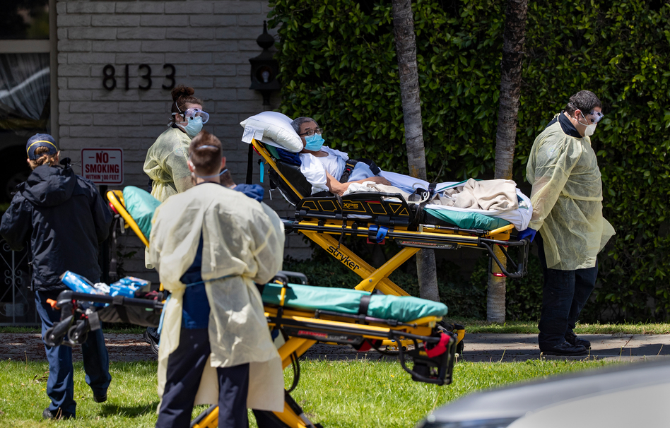 All 84 residents of Magnolia Rehabilitation and Nursing Center in Riverside, Calif., were evacuated from the facility in early April after 39 residents tested positive for the coronavirus. (Gina Ferazzi/Los Angeles Times via Getty Images)