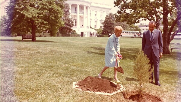 On the first Earth Day, April 22, 1970, President Richard Nixon and first lady Pat Nixon planted a tree on the South Lawn at the White House.