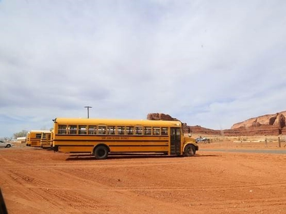 Black's grandchildren have been driving to the Monument Valley High School parking lot to get online. (Kate Groetzinger /KUER)