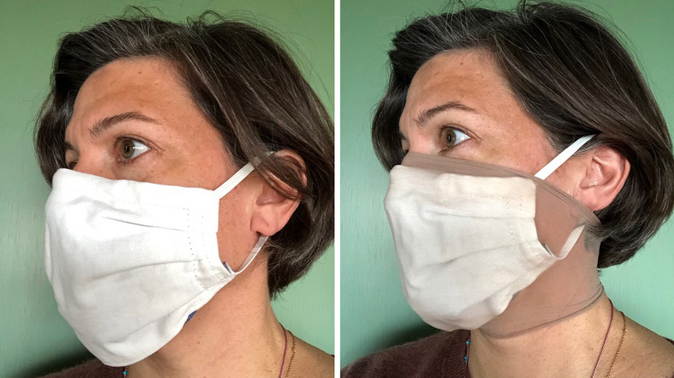 Researcher Loretta Fernandez of Northeastern University wears a homemade face mask without and with an extra outer layer made from nylon stockings (right). The added nylon outer layer significantly boosted masks' ability to filter out small particles, her research found. (Loretta Fernandez )