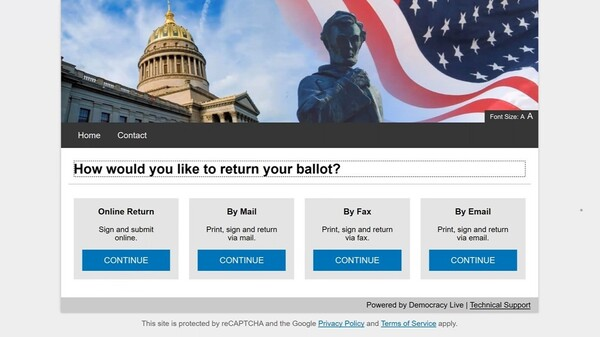 A screenshot of Democracy Live's electronic ballot delivery service. Once a voter completes their ballot, they can choose whether to return it electronically or print it out and mail it in.