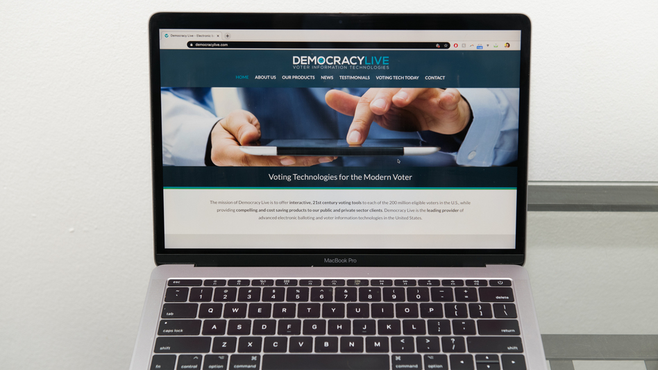The Democracy Live homepage is displayed on a laptop. The company is administering a ballot return system for disabled voters in West Virginia, Delaware and, potentially, New Jersey. (Chona Kasinger/Bloomberg via Getty Images)