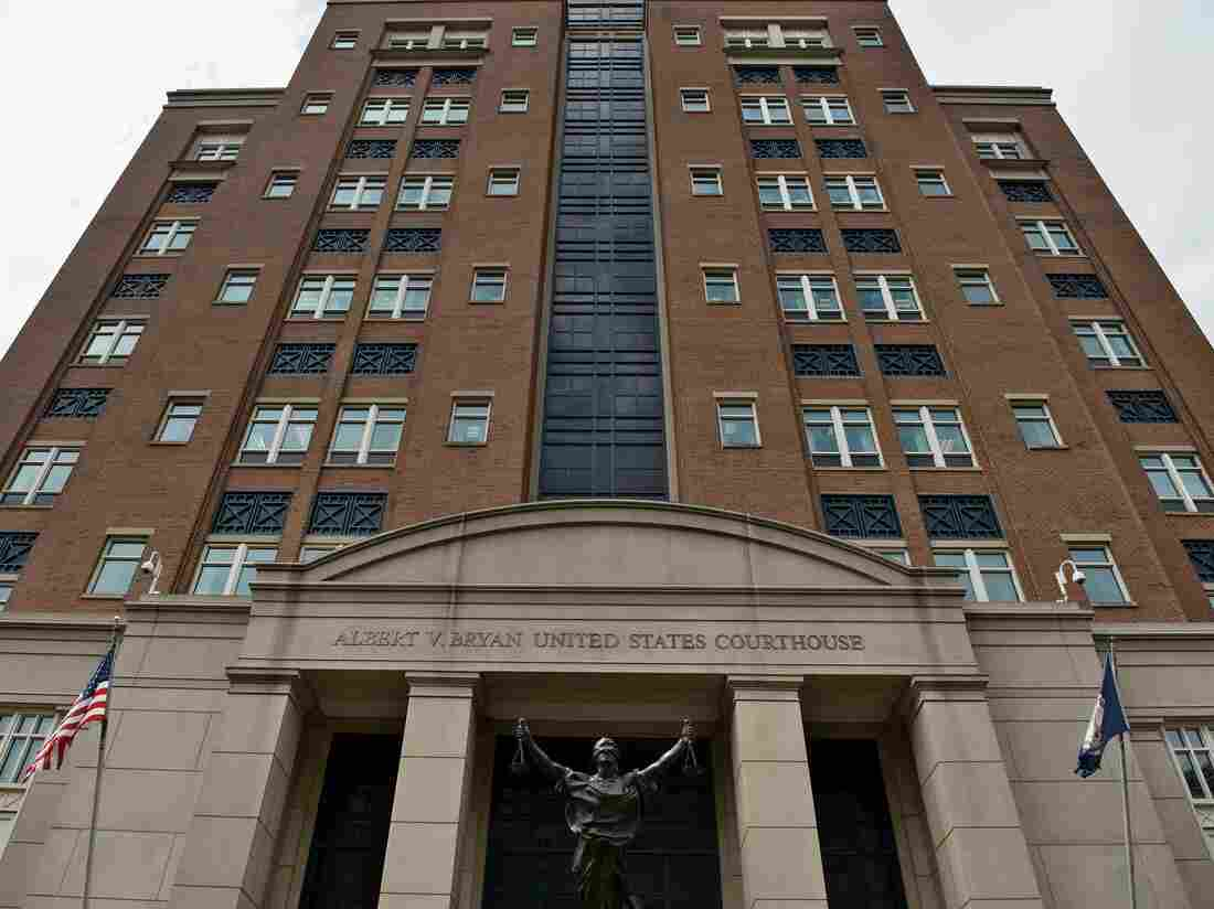 A view of a courthouse during a sentencing hearing for Marcel Lehel Lazar, a hacker known as Guccifer, at the Albert V. Bryan US federal courthouse September 1, 2016 in Alexandria, Virginia.(Photo credit should read BRENDAN SMIALOWSKI/AFP via Getty Images)