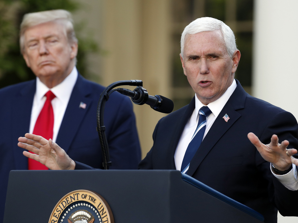 """Vice President Pence joined President Trump on Monday to announce a federal """"blueprint"""" to help states ramp up their testing of the virus. (Alex Brandon/AP)"""