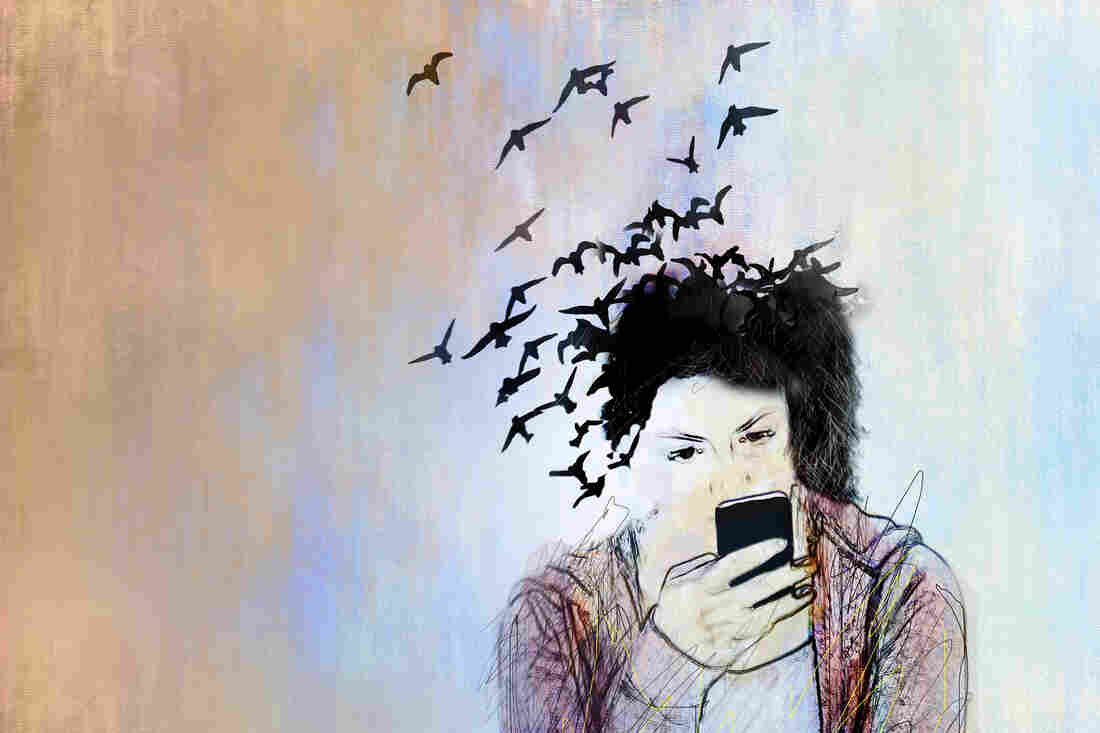Conceptual illustration of a young woman on a smartphone her hair is turning into birds and flying away depicting loss of connection with the real world.