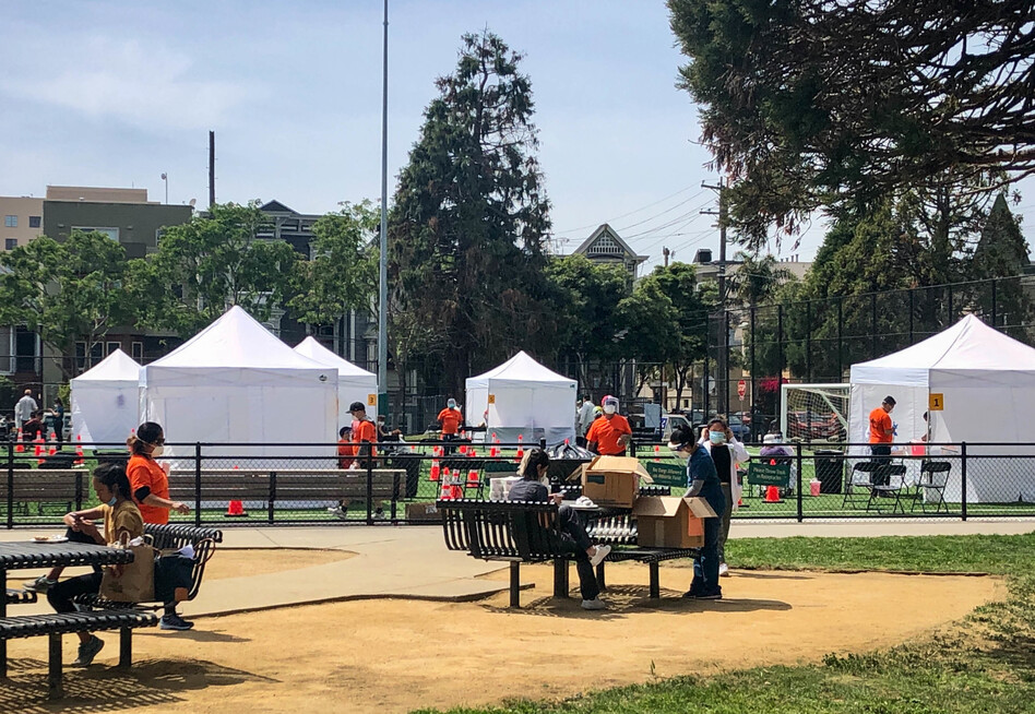 A project in San Francisco to estimate spread of the coronavirus in hard-hit neighborhoods has expanded testing to everyone over age 4 in a broad swath of the Mission District this week, including at a pop-up site at Garfield Square. (Eric Westervelt/NPR)