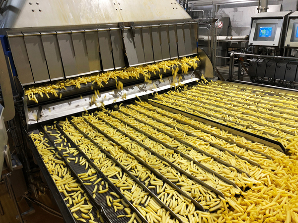 Potatoes are processed into fries at the Mydibel processing plant in Mouscron, Belgium.