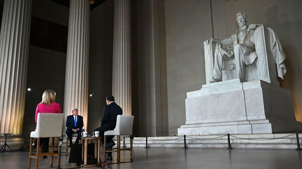 President Trump speaks during a Fox News Channel virtual town hall from the Lincoln Memorial on Sunday.