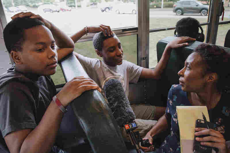 Audie Cornish, who was a part of the METCO program when she was a kid, interviews Bryan Bailey and Robert Figueroa as they ride the bus