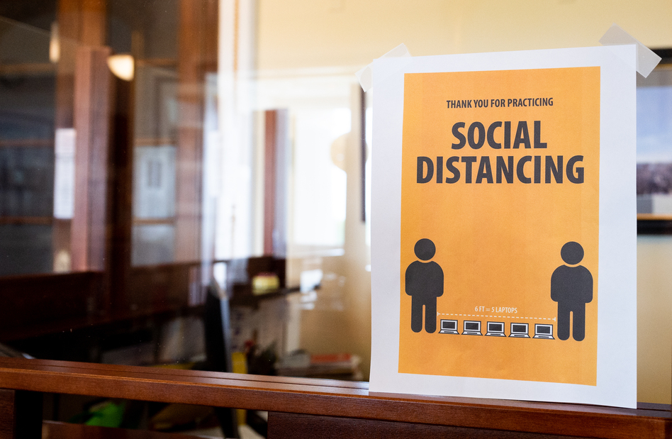 A coronavirus awareness sign around the U.S. Capitol encourages social distancing. (Michael Brochstein/Echoes Wire/Barcroft Media/Getty Images)