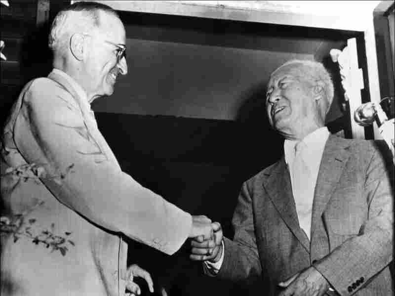 President Harry S. Truman greets South Korean President Syngman Rhee in 1954 in Independence, Missouri.