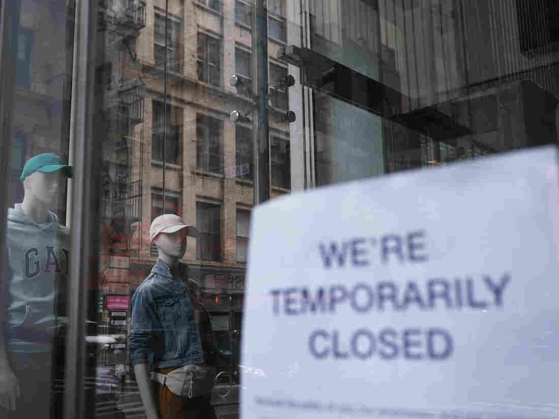 NEW YORK, NY - MAY 08: A store stands closed near Wall Street as the coronavirus keeps financial markets and businesses mostly closed on May 08, 2020 in New York City.