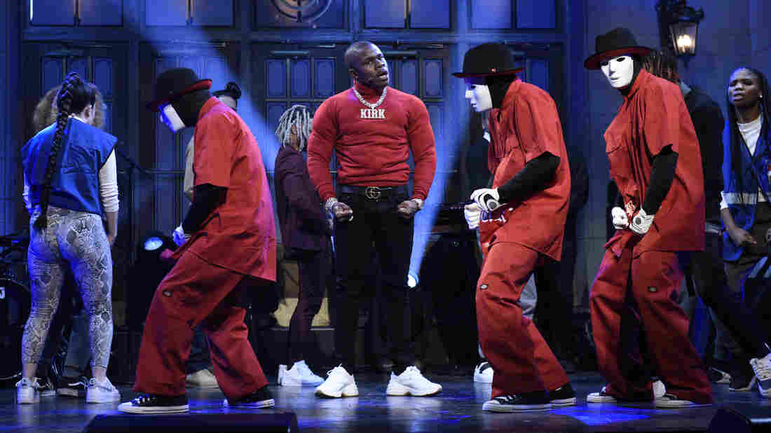 """SATURDAY NIGHT LIVE — """"Jennifer Lopez"""" Episode 1775 — Pictured: Musical guest DaBaby performs on Saturday, December 7, 2019 — (Photo by: Will Heath/NBC/NBCU Photo Bank via Getty Images)"""