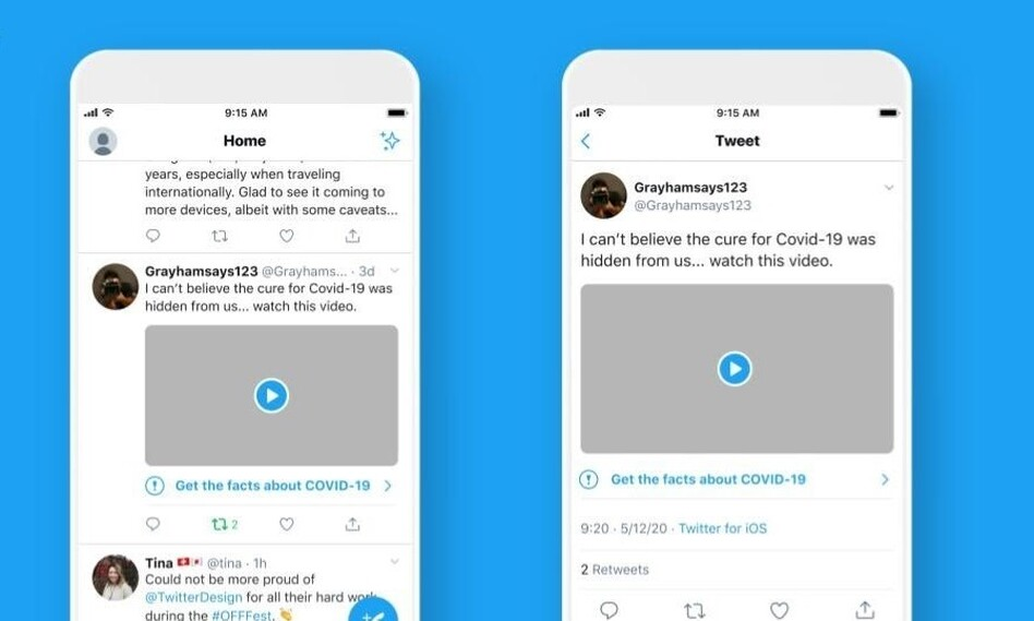 Twitter announced on Monday that tweets related to the coronavirus containing misleading, disputed or unverified claims will now carry labels warning users about the content. (Twitter)