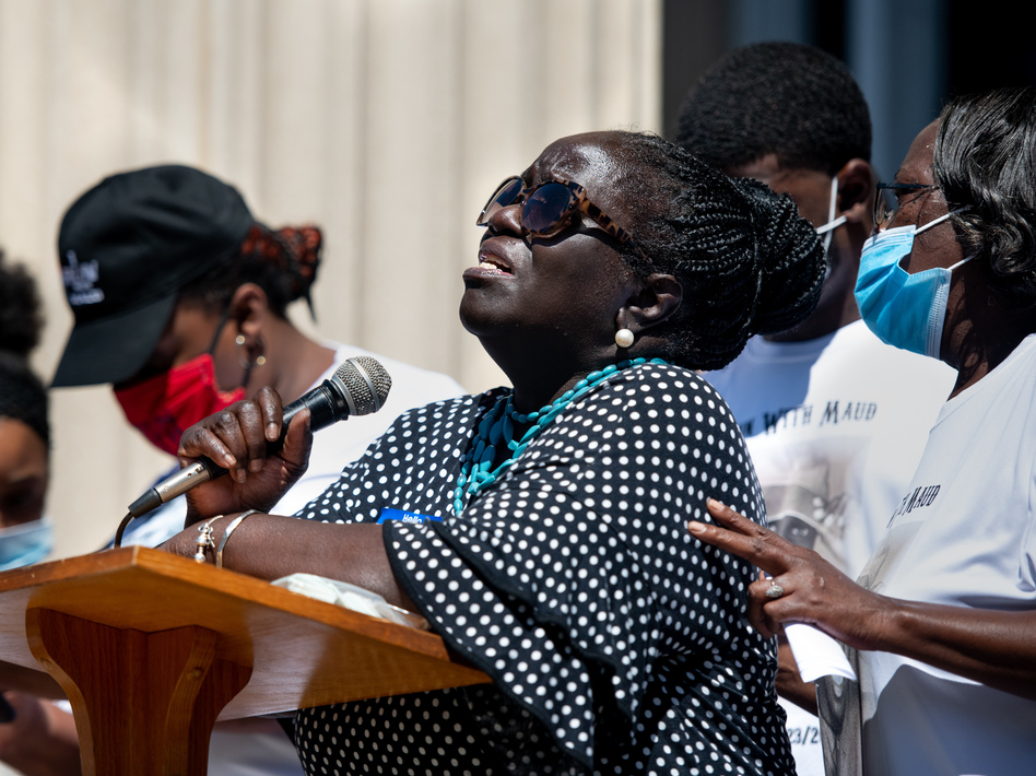 Kimberly Cummings speaks to demonstrators at the Glynn County Courthouse on May 8 in Brunswick, Ga., during a protest over the fatal shooting of her nephew, Ahmaud Arbery. (Sean Rayford/Getty Images)