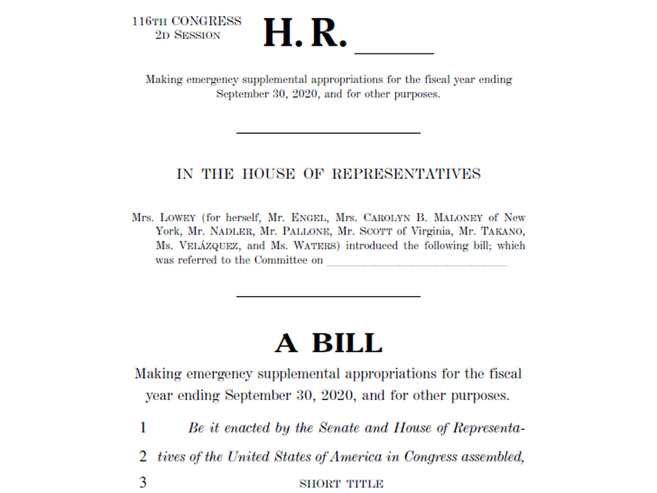 A screenshot of the House HEROES Act (U.S. House of Representatives/Screenshot by NPR)