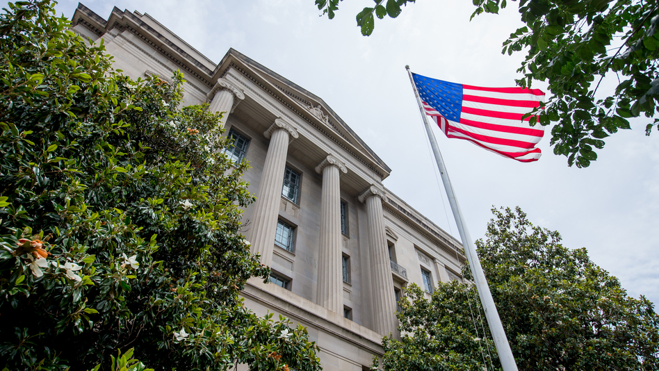 The Robert F. Kennedy Department of Justice Building in Washington, D.C. (Andrew Harnik/AP)