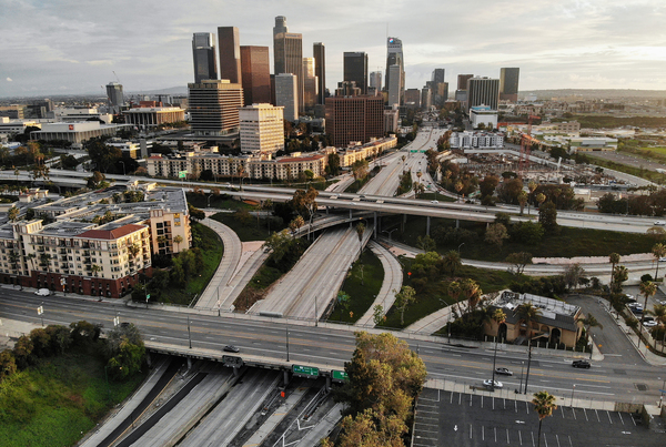 Freeway traffic was light and the air was relatively clear in Los Angeles on April 6.