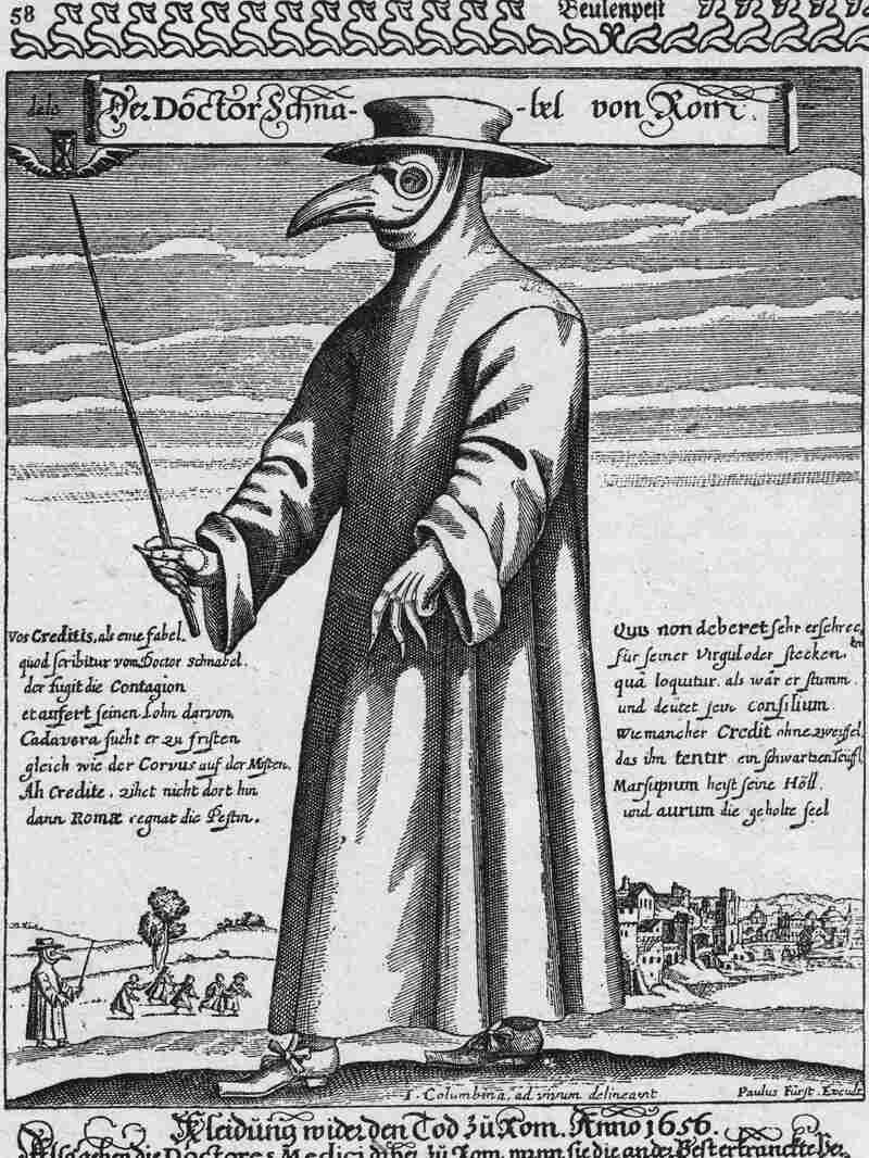 A plague doctor in protective clothing. The beak mask was filled with incense thought to purify air and the cane was used to avoid touching patients. Artwork by Paul Furst.