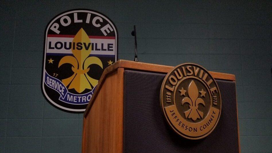 Briefing room inside the Louisville Metro Police Department. (Kyeland Jackson/WFPL)