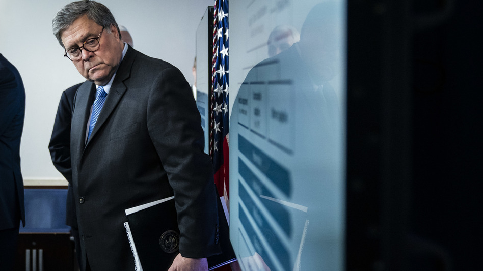 U.S. Attorney General William Barr, here at a White House briefing in March, appointed a U.S. attorney in 2019 to look into the origins of the Russia probe. (Jabin Botsford/The Washington Post via Getty Images)