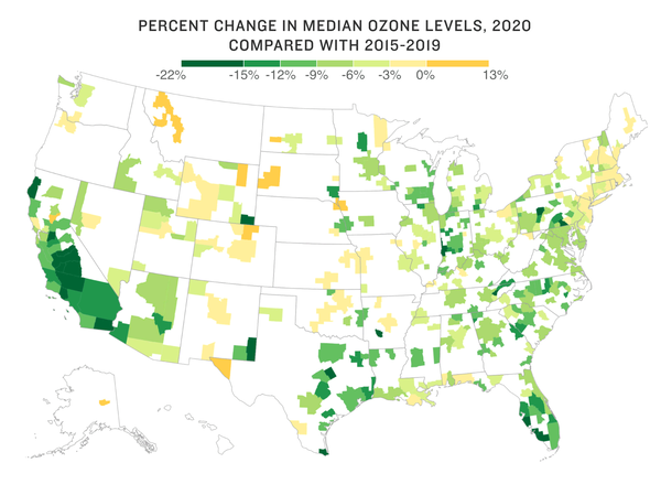 Map of ozone changes across the country.