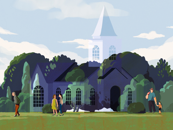An illustration of a church vanishing as people walk by.