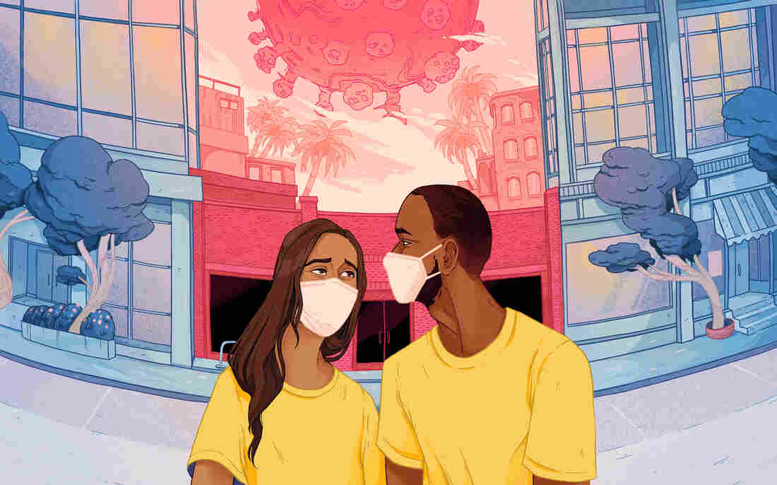 a couple of color wearing masks and looking at each other, concerned, while a large coronavirus hangs over them
