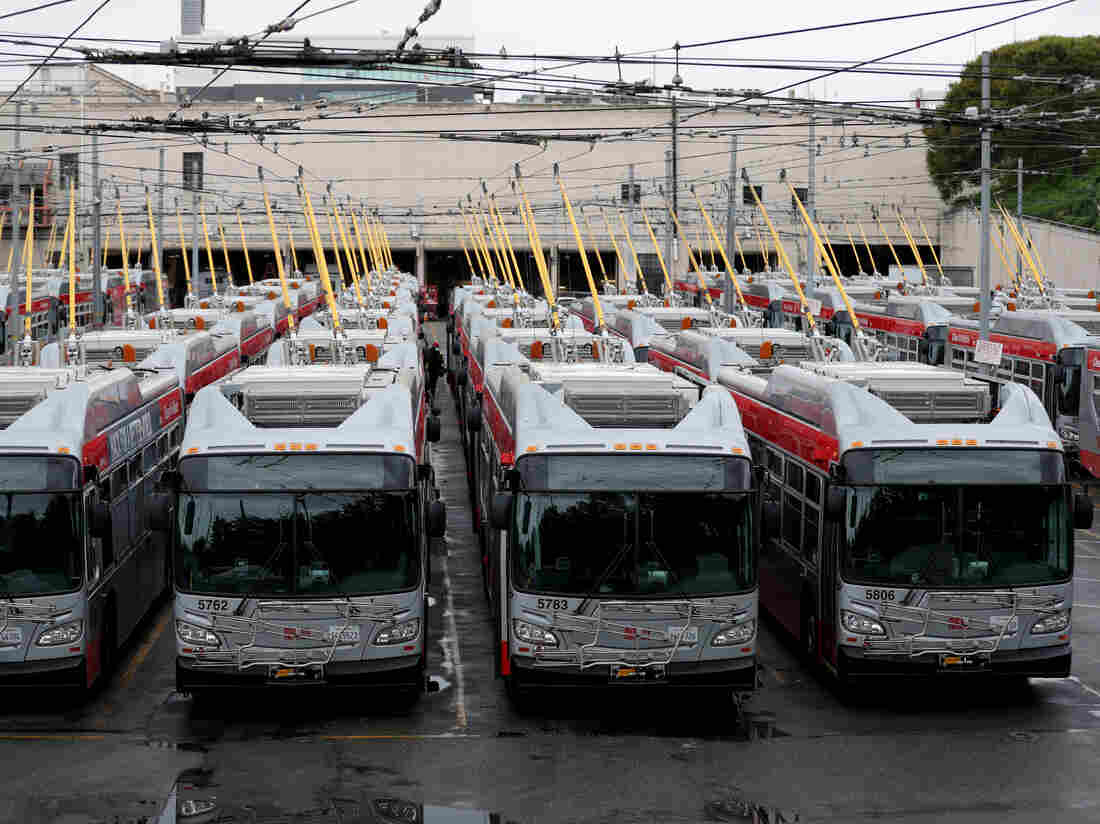 San Francisco MUNI buses sit parked at an SF Municipal Railway yard during the coronavirus pandemic. (Photo by Justin Sullivan/Getty Images)